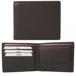 Flache Rindleder Doppelnaht Geldbörse mit großem Kleingeldfach, 3 Kartenfächer braun