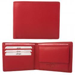 Flache Rindleder Doppelnaht Geldbörse mit großem Kleingeldfach, 3 Kartenfächer rot