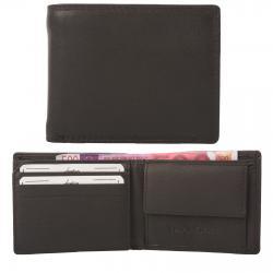 Kleine Rindleder Doppelnaht Geldbörse mit großem Kleingeldfach, 6 Kartenfächer braun