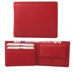Kleine Rindleder Doppelnaht Geldbörse mit großem Kleingeldfach, 6 Kartenfächer red
