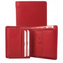 Kleine Rindleder Doppelnaht Geldbörse mit großem Kleingeldfach, 7 Kartenfächer rot