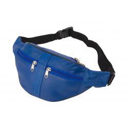 Bauchtasche mit 2 Front-Reißverschlüssen - Nappa Leder blau