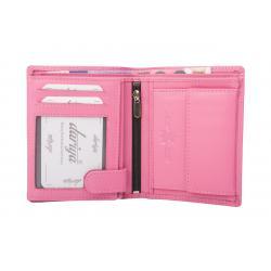 Hochwertige Rindleder Geldbörse mit Doppelnaht  - rosa