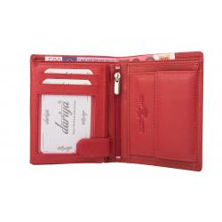 Hochwertige Rindleder Geldbörse mit Doppelnaht  - rot  uni