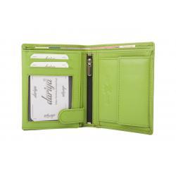 Hochwertige Rindleder Geldbörse mit Doppelnaht  - hellgrün