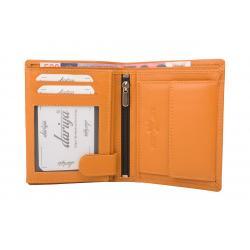 Hochwertige Rindleder Geldbörse mit Doppelnaht  - orange