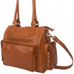 Große Rind Nappaledertasche mit 3 Außentaschen - cognac