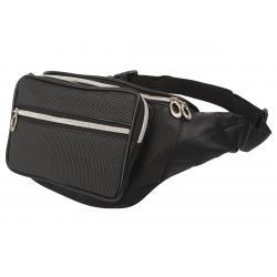 Stylische Bauchtasche mit Fronttasche Reißverschluss mit Metall-Look Reißverschluss - Nappa Leder schwarz