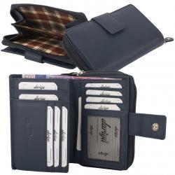 RFID Protection Damenbörse mit RV Münzfach, 13 Kartenfächer - Rind Nappa Leder - dunkelblau