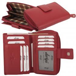 RFID Protection Damenbörse mit RV Münzfach, 13 Kartenfächer - Rind Nappa Leder - red