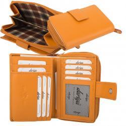 RFID Protection Damenbörse mit RV Münzfach, 13 Kartenfächer - Rind Nappa Leder - orange