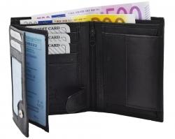 Geldbörse Nappa-Leder Kombibörse schwarz