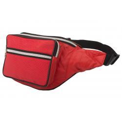 Stylische Bauchtasche mit Fronttasche Reißverschluss mit Metall-Look Reißverschluss - Nappa Leder rot