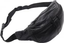 Bauchtasche mit 2 Front-Reißverschlüssen - Nappa Leder schwarz