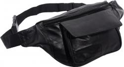 Bauchtasche mit Fronttasche Klettverschluss - Nappa Leder schwarz