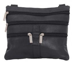 Schultertasche (Neck-Wallet) Lamm Nappa Leder - schwarz