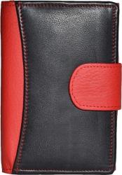 Mittlere Damenbörse Rind Leder - schwarz/rot