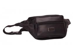 Bauchtasche mit Fronttasche Reißverschluss und Gravur Metallplättchen - Nappa Leder schwarz