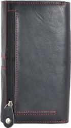 Große Damenbörse mit Reißverschluss - Rind Leder schwarz/rot