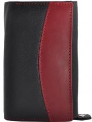 Edle große Damenbörse - viele Fächer - Rind Leder schwarz/rot