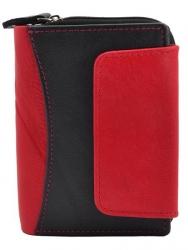 Damenbörse Echt-Leder mit Außenriegel schwarz