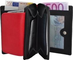 Kleine Damenbörse mit Reißverschluss - Rind Leder schwarz/rot