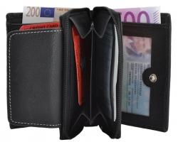 Kleine Damenbörse mit Reißverschluss - Rind Leder schwarz