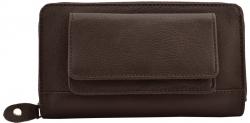 Große Damenbörse - 1 Reißverschluss rundum mit Außentasche - Vollrind Leder dunkelbraun