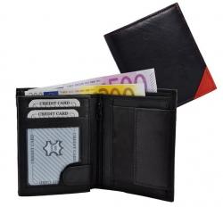 Geldbörse Nappa-Leder Kombibörse schwarz/rot - Corner