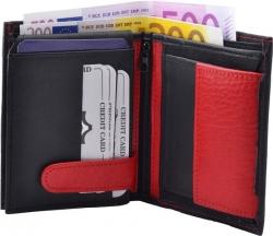 Geldbörse Nappa-Leder Kombibörse schwarz/rot