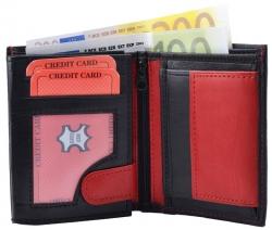 Geldbörse Nappa-Leder Kombibörse (klein) schwarz/rot