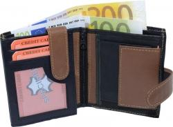 Geldbörse Nappa-Leder mit Außenriegel schwarz/tan