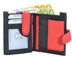 Geldbörse Nappa-Leder mit Außenriegel schwarz/rot