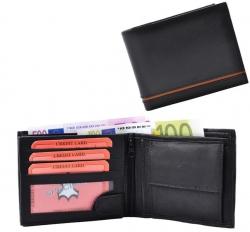 Geldbörse Nappa-Leder Scheintasche mit Einkaufschip schwarz/tan - Line