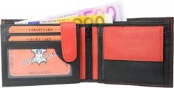 Geldbörse Nappa-Leder Scheintasche schwarz/rot
