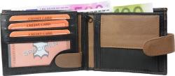 Geldbörse Nappa-Leder Scheintasche mit Außenriegel schwarz/tan