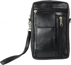 Herren Tasche mit großem Handyfach - softes Lamm Nappa Leder schwarz