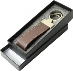 Schlüsselanhänger Echt-Leder mit Geschenkbox braun