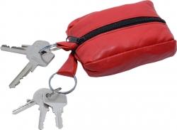 Schlüsseltasche mit 2 Reißverschlussfächern - Nappa Leder