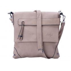 dariya® Freizeit Umhängetasche / Crossbody Tasche mit Überschlag und verdecktem Reißverschlussfach - beige