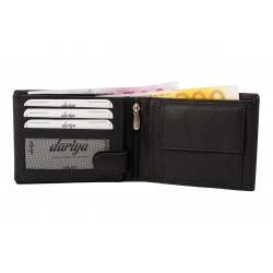 Hochwertige Rindleder Geldbörse mit Doppelnaht  - schwarz uni
