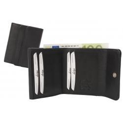 Hochwertige Rindleder Damenbörse aus feinem Nappa Leder  - schwarz uni