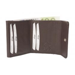 Hochwertige Rindleder Damenbörse aus feinem Nappa Leder  - braun uni