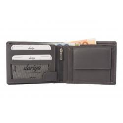 Hochwertige Rindleder Geldbörse mit Doppelnaht  - grau uni